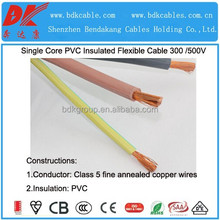 10mm2 flexible cable 70mm 300/500v pvc soft wire overhead flexible power cable flexible copper pvc power cable flexible wire