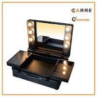 cosmetic professional makeup case with lighted mirror