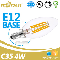 UL listed dimmable E12 LED Filament Bulb C35 led candelabra 4 watts