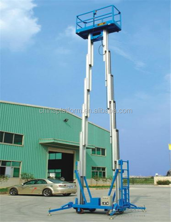 mobile double mast telescopic aerial working platform/electric hydraulic aluminum two mast vertical man lift