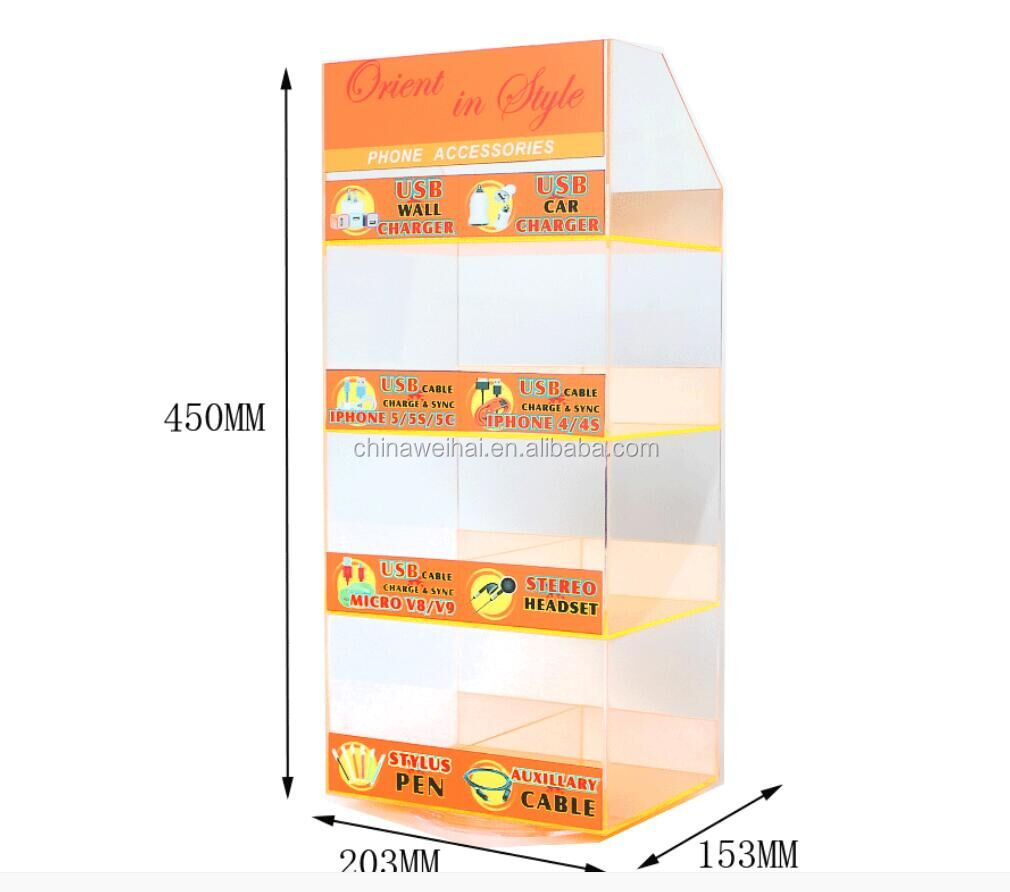 Clear  Acrylic Cell Phone Accessories Wall Display