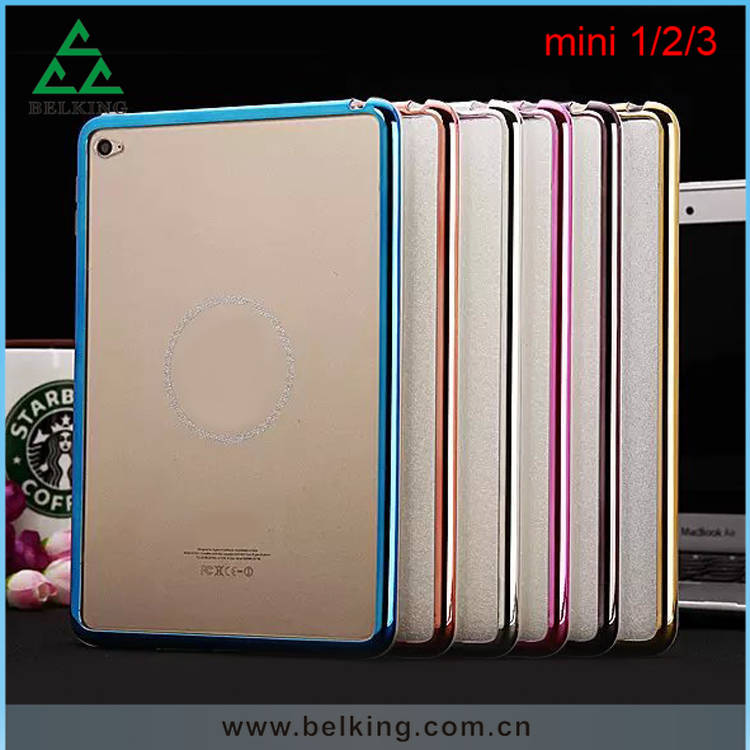 Plastic Electroplated Bumper For iPad Mini 1/2/3 Soft Rubber TPU Tablet Case