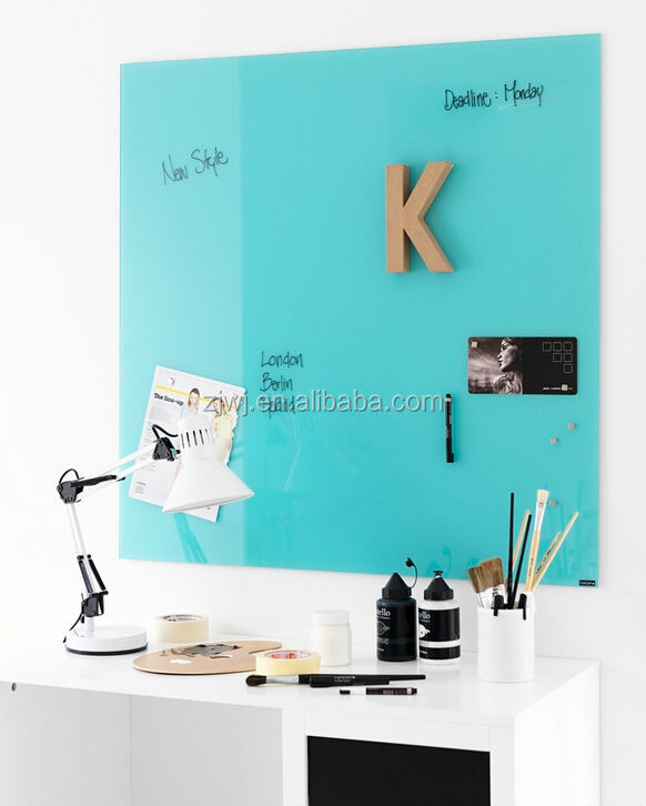Tempered magnetic glass whiteboard with magnets