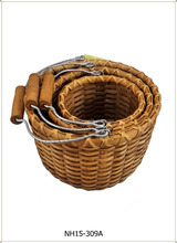 RATTAN STORE BASKET WITH IRON HANDLE