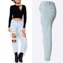 New arrival woman jeans different size for choice hollow denim jeans women frayed ripped jeans