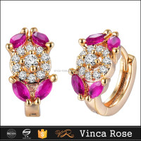 Jewelry gold earrings women wholesale fashion ruby vietnam jewelry
