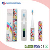 Colorful kids electric toothbrush with replaceable brush heads operated by 1 AAA battery
