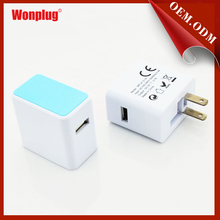 Customized Colors Hot Sale Folding Us Plug Wall Charger Adapter Mobile Phone Travel Charger For Blackberry/ Iphone 5v 1000ma