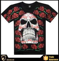 Most popular street style 3D t-shirts wholesalepattern cotton T-shirts rose skeleton cool