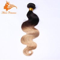 100% Human Hair Body Wave Extension Weaving Virgin Indian Weft Ombre Two Color Honey Blonde Hair Attachments
