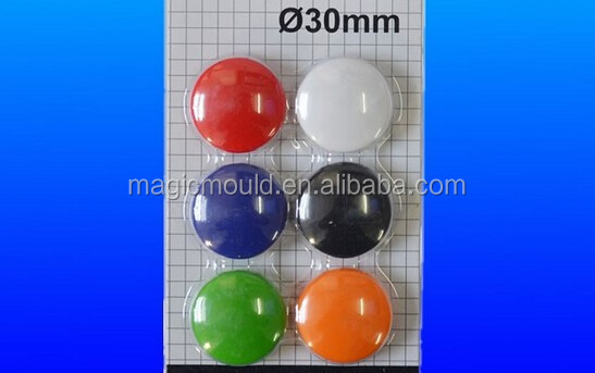 30mm Colorful transparent Magnet Button mould for Whiteboard or Fridger/new design magnetic button mold