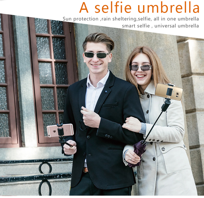 Innovative Papaler selfie umbrella can be a photography stand with bluetooth shutter for cell phone