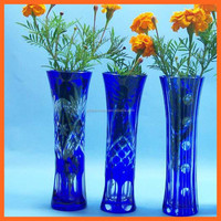 Chinese Modern arts and crafts decorative table top glass blue flower vase blown murano glass vases