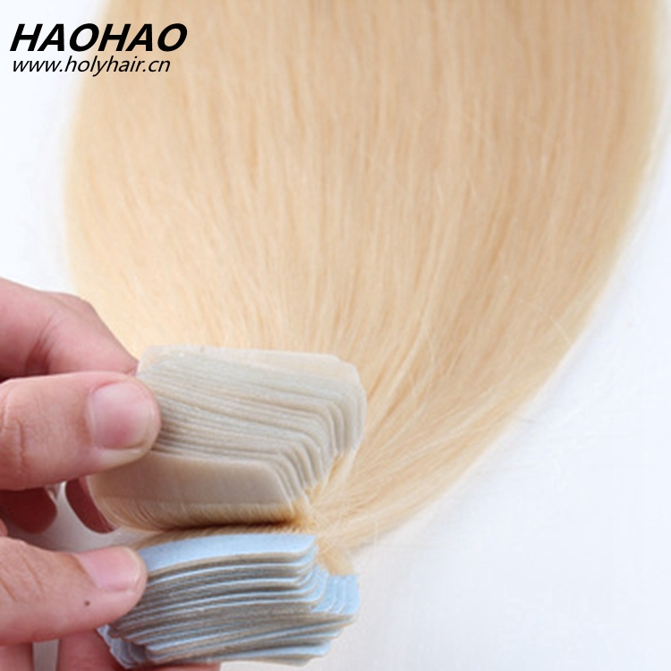2017 wholesale human hair tape in hair extensions in platinum light blonde in stocks