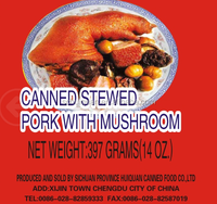 canned food,pork meat,ready to eat meal,pork, canned stewed pork feet with mushroom