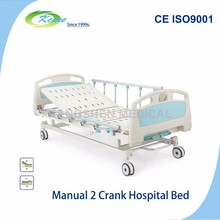 Manual 2 cranks up down hospitals care bed for patients nursing