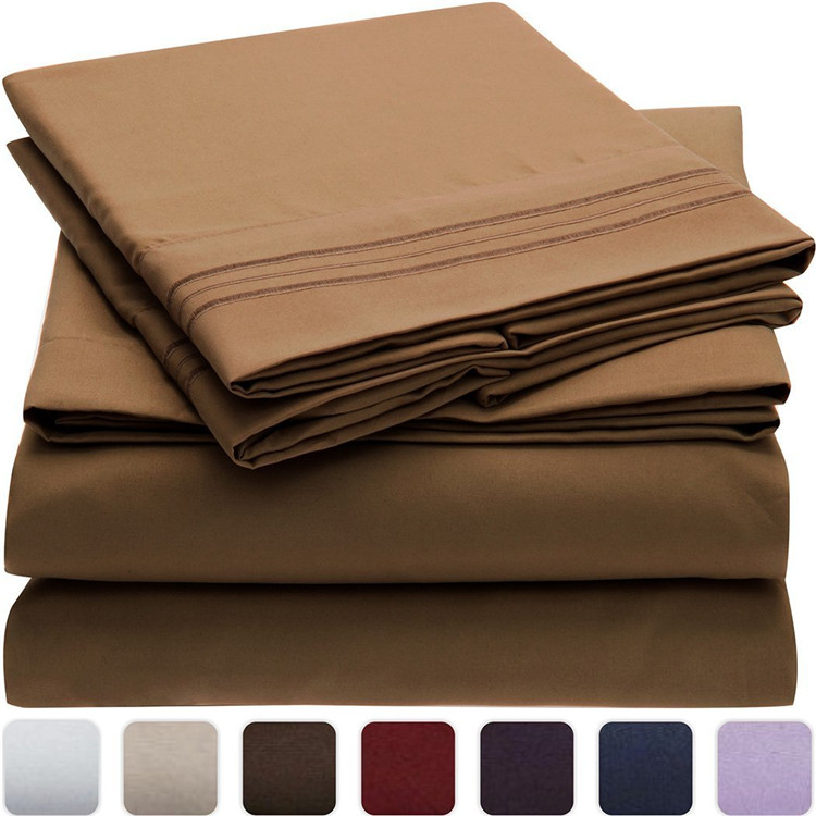 1800 thread count 100% brushed microfiber fabric bed sheets sets emboridery
