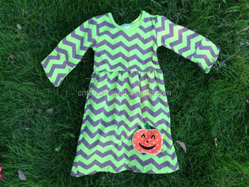 2014 new girls halloween dress pumpkin dress chevron dress