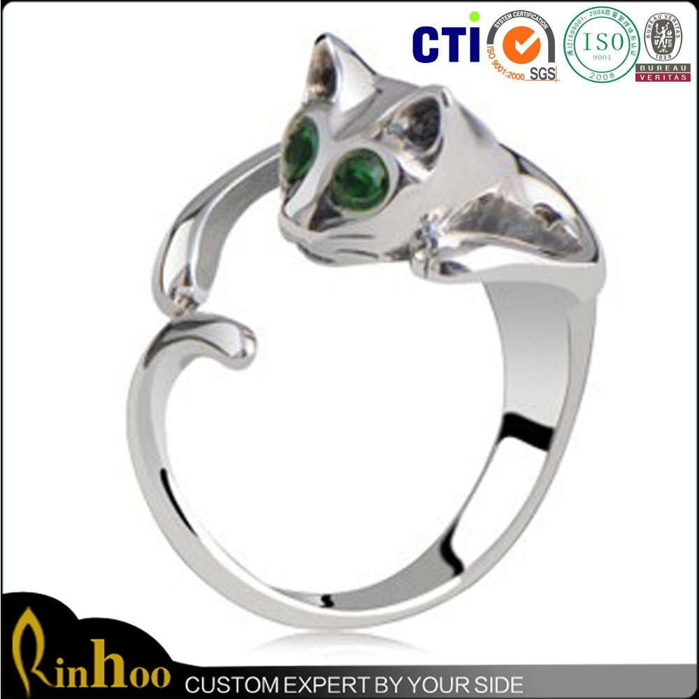 2015 Fashion white gold cat tat tail ring