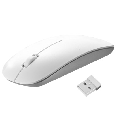 Hot Selling 2.4GHz Wireless Ultra-thin Laser Optical Mouse with USB Mini Receiver, Plug and Play(White)