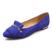2015 simple design high quality dress shoes royal blue flat shoes ladies low heels