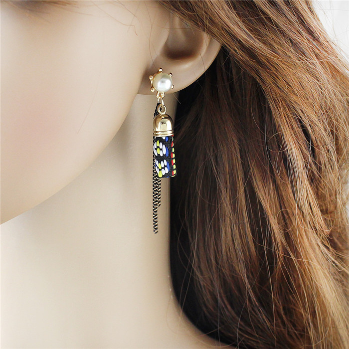 Free Shipping Ethnic Style Imitation Pearl Long Chain Earrings