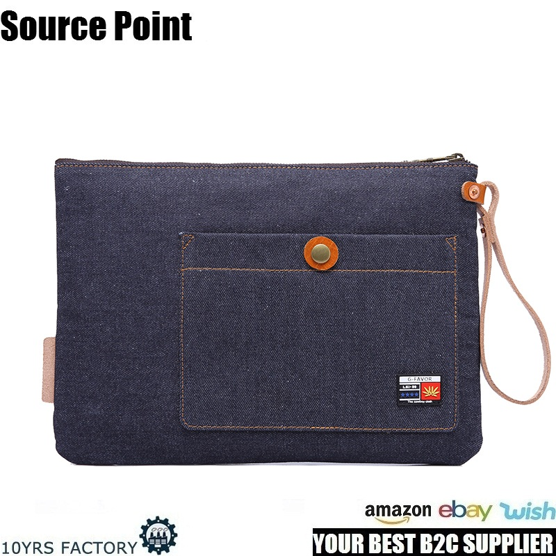 YD-3038 Brand designer jean canvas women purse clutch bag for young ladies