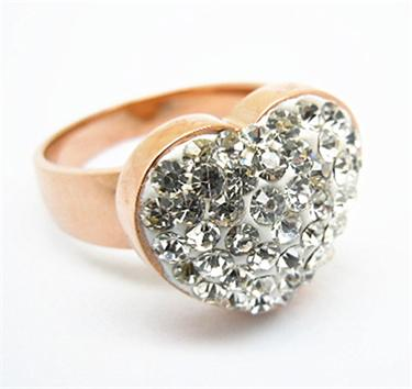 Fashion Design Women Heart Shaped Ring Gold with Stone Wholesale