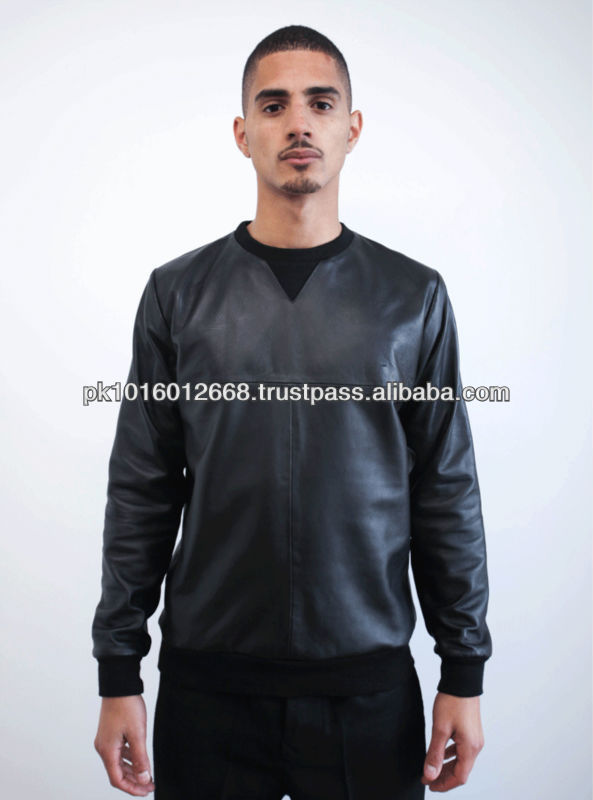 Men Leather Sweater, Fashion Sweater for men