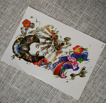 Shy Japanese Girl with Fan Design Water Transfer Printing