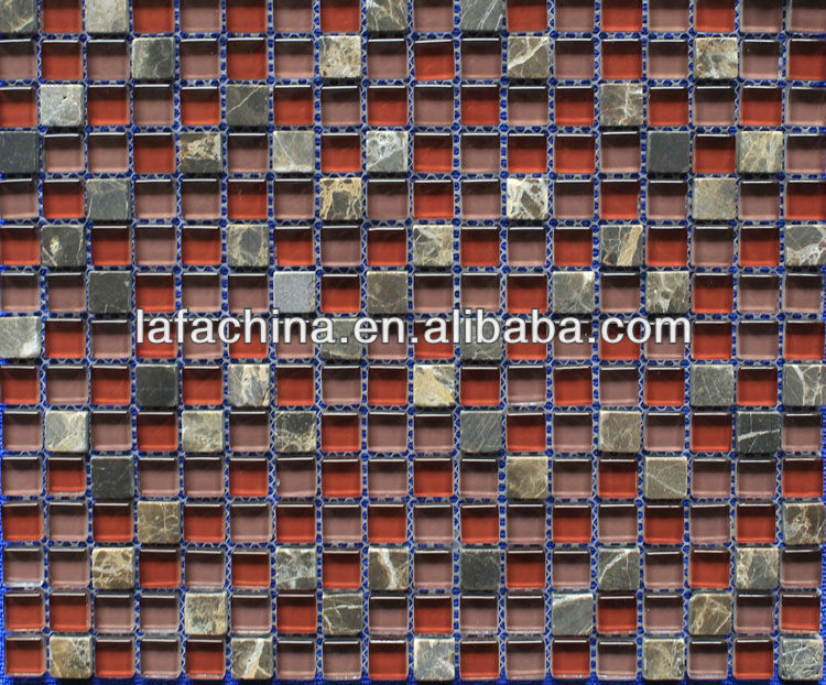 red glass tile mixed stone mosaic for background