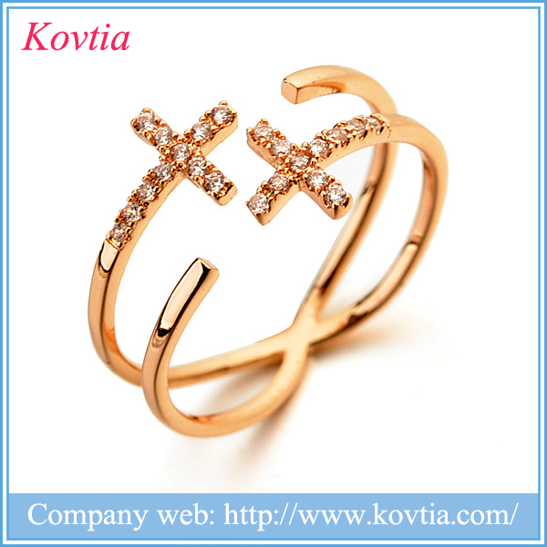 2016 2 tone cross jewelry jesus cross rings anillos de oro zircon rings