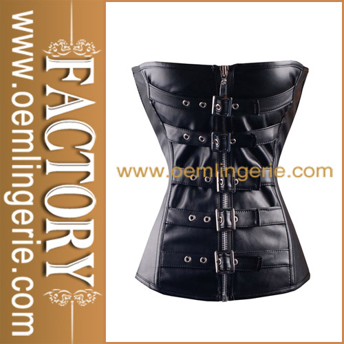 Wholesale Hot Sale Black Leather Tie Front Women Sexy Orthopedic Corset