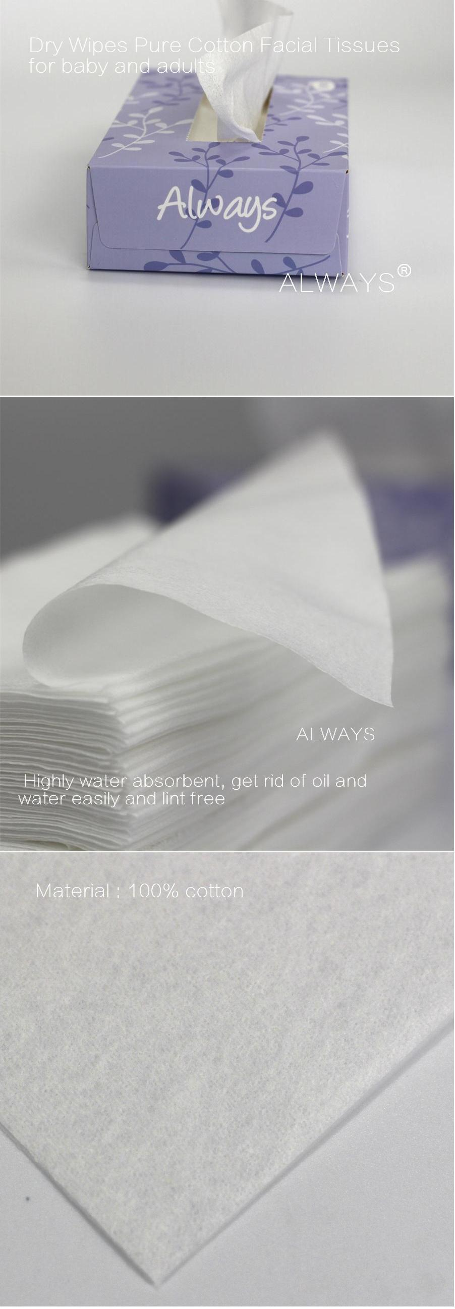 35-70 gsm disposable pure cotton dry wipes, high performance facial wipes
