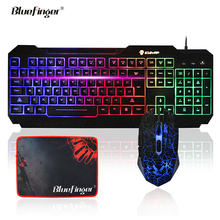 USB Wired LED Backlit Gaming Keyboard and Cool Crack Mouse Combo