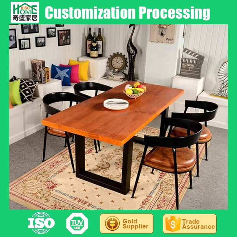 Dining Room Furniture Type Industrial Wood Metal Dining Table and Chair Set