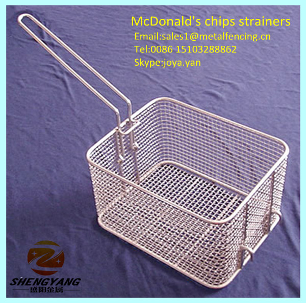 Food class wire woven kitchen skimmers McDonald's fresh french fries baskets stainless steel metal type chips strainers