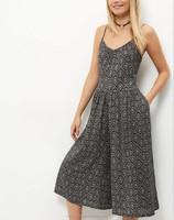 MIKA2202 Pattern Printed Culotte Jumpsuit
