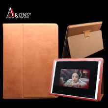 Design stand folio opening book case genuine leather cover for ipad