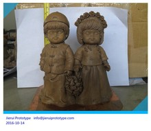 clay sculpture/mud sculpture/American Whimsical Gnome with Mushroom Fairy Figurines