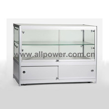 Cosmetic kiosk counter top, tempered glass counter top showcase, commercial glass display cabinets