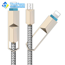 2 in 1 Customized CE Certified fast speed Nylon Braided Charging Data usb cable