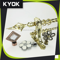 KYOK golden swivel curtain tube, double wought iron curtain pole, decorative curtain rods finial curtain hardware