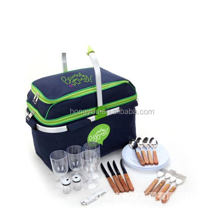 Foldable Insulated Picnic Basket for Plates and Cutlery Folding Picnic Cooler Bag for Food Wine and Bottles