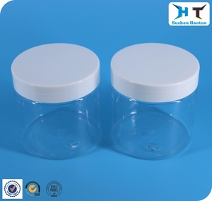 High quality 200ml transparent PET jar with white plastic cap for cream