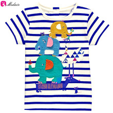 Fashion Kidwear Boys Clothing Baby T shirts Blue white Stripe with Elephant Pattern