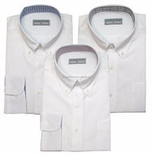 mens white polyester/cotton long sleeve wholesale jacquard inlaying shirt