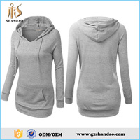 2016 guangzhou shandao spring fashion wholesale 100%cotton long sleeve plain dyed pullover women blank hoodies with no labels