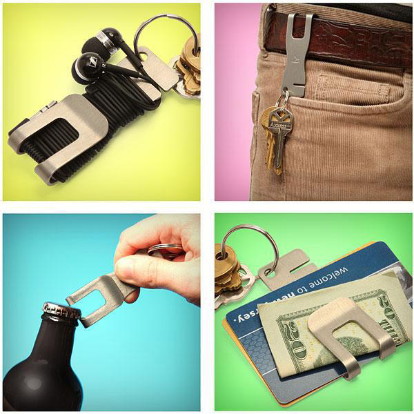 Novelty Creative Bottle Opener Keyring Tool Metal Belt Money credit card Clip Bookmark QingGear Key Tool