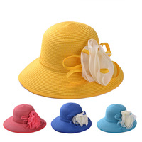 Flower applique trims straw girls cloche hats for sale